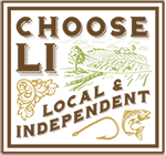 logo for Choose LI initiative, words with local and independent with a fish, and some vegetables