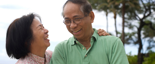 Graphic a mature man and woman laughing
