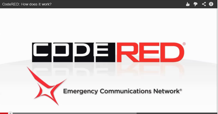Graphic for CODE RED video. CodeRED: How does it work? Click here to view the video