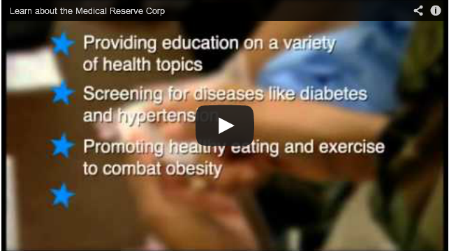 Graphic of Medical Reserve Corp video- Click here to go to the video