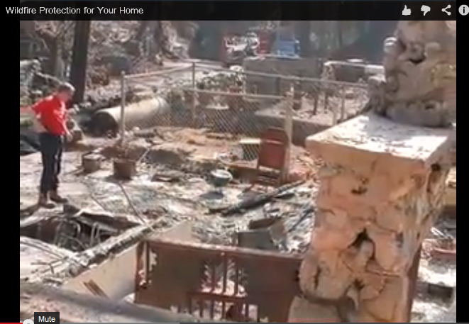 Graphic showing a home after a fire burned everything but the foundation - go to video Wildfire Protection for Your Home