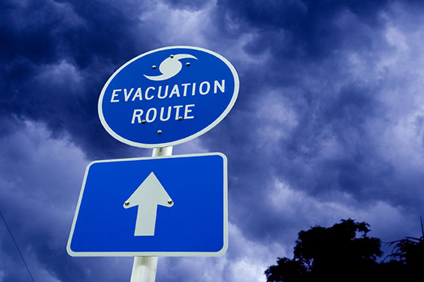picture of an evacuation sign