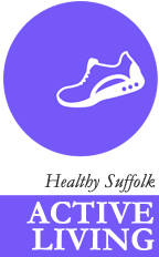 Logo: a running shoe in a circle with the words healthy suffolk active living